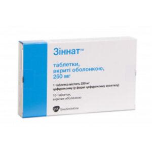 Зиннат 250мг 10 таблетки (Цефуроксим)
