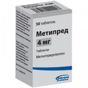 Метипред 4мг таблетки  30 Метилпреднизолон