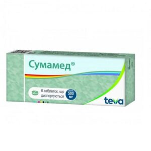 Сумамед 500мг диспергируемые таблетки №6шт Азитромицин