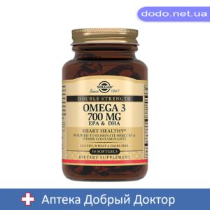 Двойная Омега-3 700мг. ЕПК и ДГК 30 капсул Solgar (Солгар)_025513-Аптека Добрый Доктор