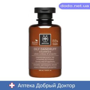 Шампунь от перхоти для жирных волос с белой вербой и прополисом 250мл Apivita (Апивита)