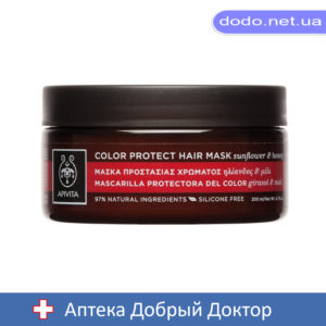 Маска для окрашенных волос с подсолнечником и медом 200мл Apivita (Апивита)