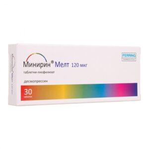 Минирин Мелт лиофилизат оральный 120мкг №30 (Десмопрессин)