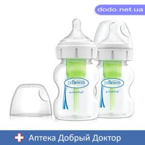 Антиколиковая бутылочка для кормления с широким горлышком Options+, 150 мл, 2 шт. в упаковке Dr.Brow
