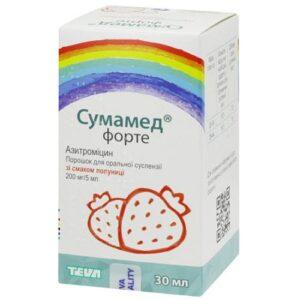 Сумамед Форте 200мг-5мл  со вкусом клубники порошок для суспензий 30мл Азитромицин